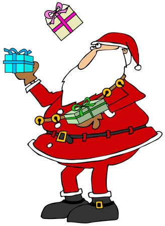 juggle: Santa juggling packages