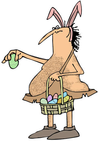 prehistoric man: Caveman Easter bunny Stock Photo