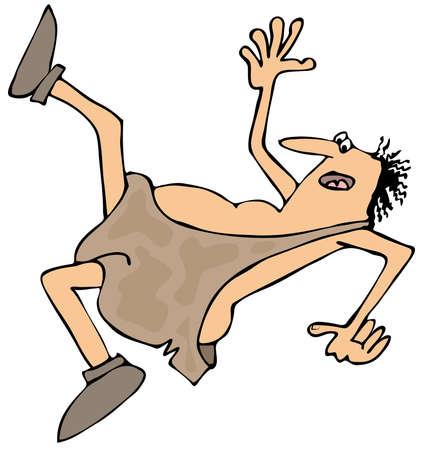 Falling caveman Stock Photo