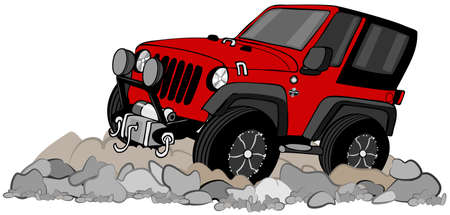 four wheel drive: Red SUV climbing in rocks