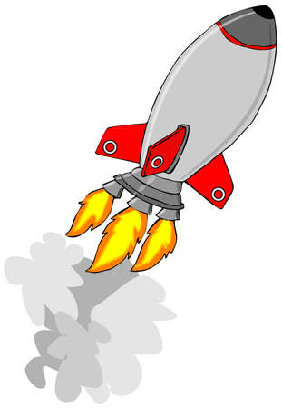 engine flame: Silver rocket