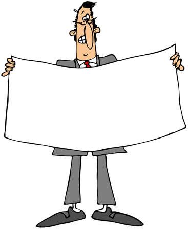 Businessman holding a white banner Stok Fotoğraf