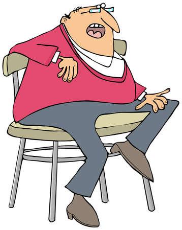Mollige man zittend op een kruk Stockfoto