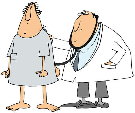hospital gown: Doctor and patient Stock Photo