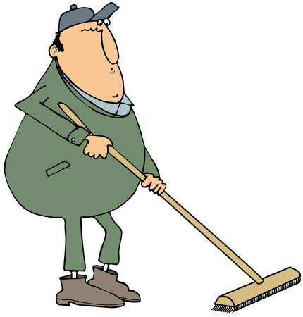 push: Man using a push broom