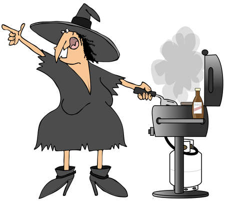burger cartoon: Witch grilling burgers