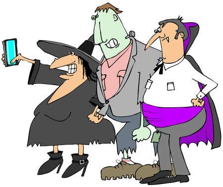 brujas caricatura: Selfy de Halloween
