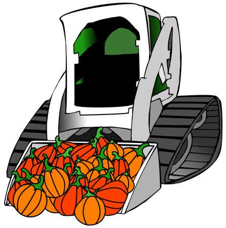 cartoon tractor: Small tractor load of pumpkins