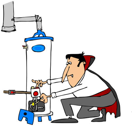 water heater: Vampire lighting a water heater