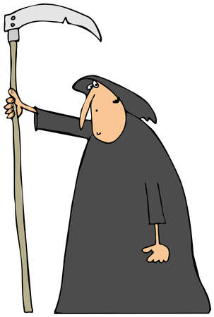 guadaña: Hombre encapuchado llevando una guadaña