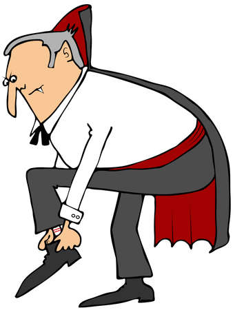 cartoon vampire: Vampire putting on his shoes