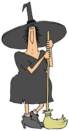 Witch leaning on her broom Imagens