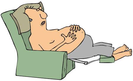 Shirtless man in slaap in een stoel Stockfoto