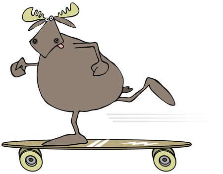 Moose on a skateboard Banco de Imagens - 47862071