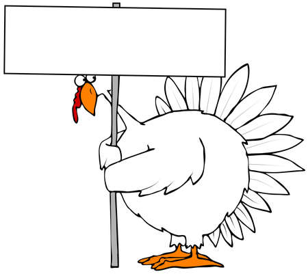 peering: Turkey holding a blank sign