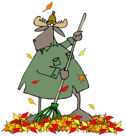 Moose raking autumn leaves