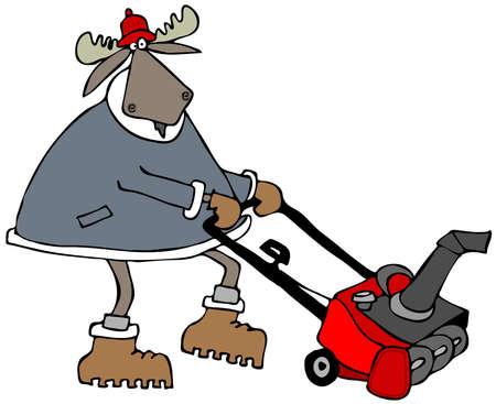 Bull Elch mit einer Schneefräse mit Standard-Bild - 48143068