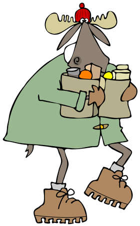 stocking cap: Moose carrying bags of groceries Stock Photo