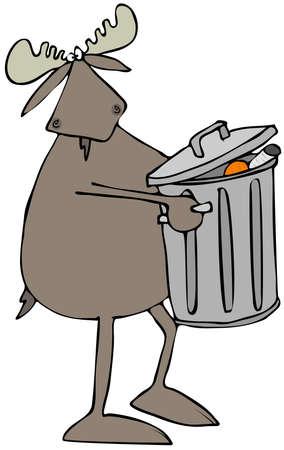 Moose taking out the garbage