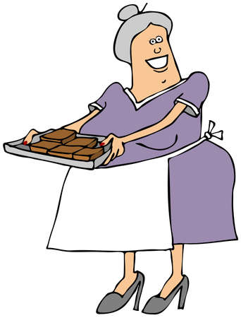 fudge: Old lady with a tray of brownies Stock Photo