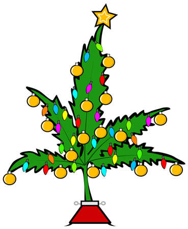 christmas cartoon: Christmas pot leaf tree Stock Photo