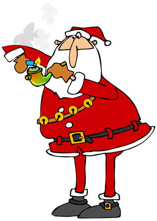 ganja: Santa lighting a marijuana pipe