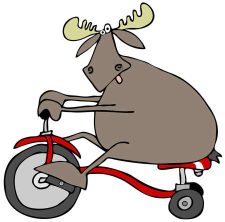 pedaling: Moose on a tricycle