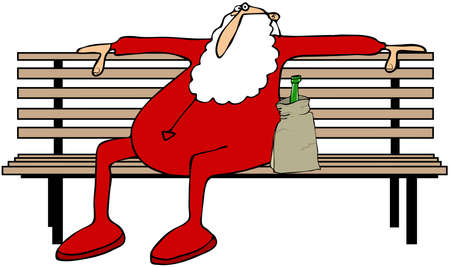cartoon bottle: Drunk Santa on a park bench Stock Photo