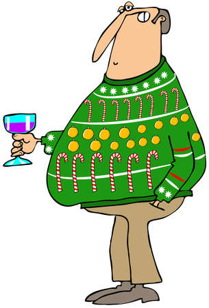 ugly man: Man wearing an ugly Christmas sweater