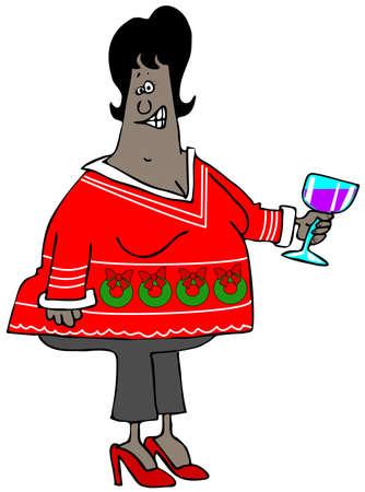 sueter: La mujer llevaba un su�ter de Navidad fea