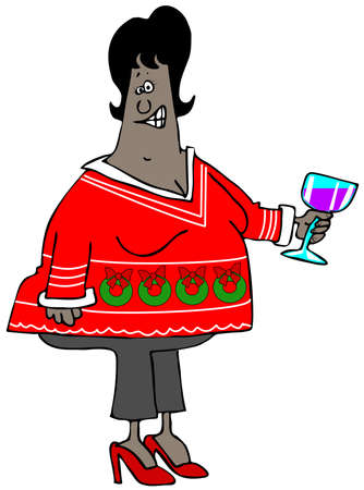 Woman wearing an ugly Christmas sweater Stock Photo