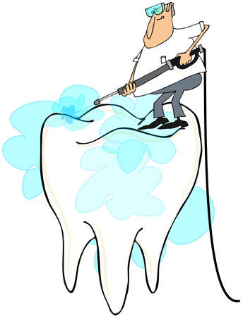 Man cleaning a large tooth Stock Photo
