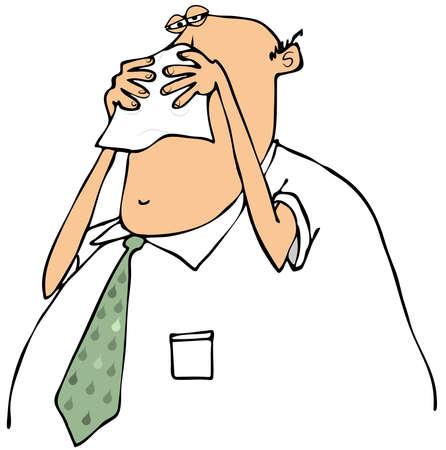 persona enferma: Empresario sonándose la nariz Foto de archivo