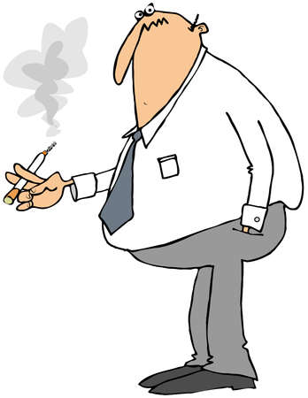 Businessman smoking a cigarette