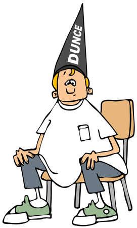child sitting: Boy wearing a dunce hat Stock Photo