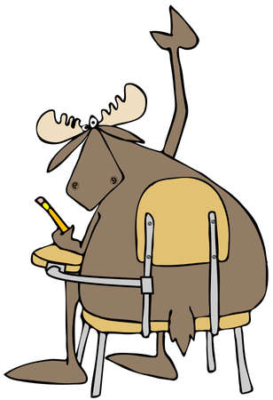 bull cartoon: Moose student with a question