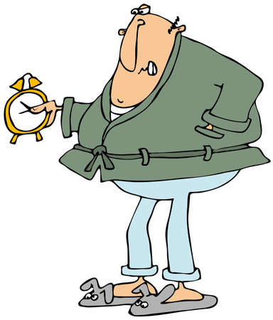 angry person: Upset man looking at alarm clock
