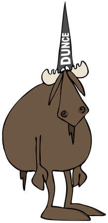 Stupid eland dragen van een domkop hoed