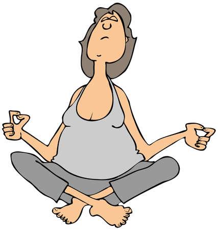 sweats: Woman sitting and meditating Stock Photo
