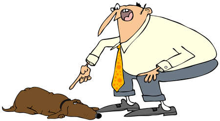 disobedient: Man scolding a dog