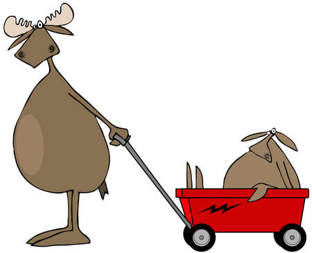 pulling: Moose pulling baby in wagon