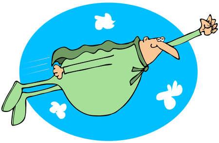 illustration man: Chubby superhero flying in the sky