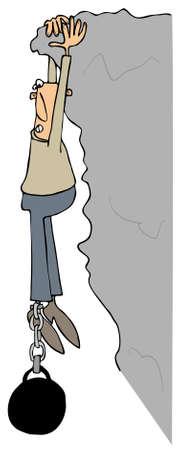 Mann von einer Klippe hängen Standard-Bild - 54284948