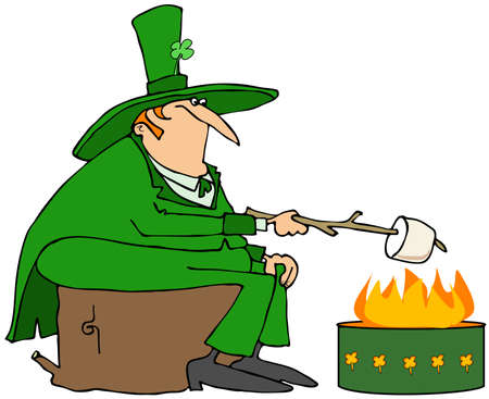 roasting: Leprechaun roasting a marshmallow