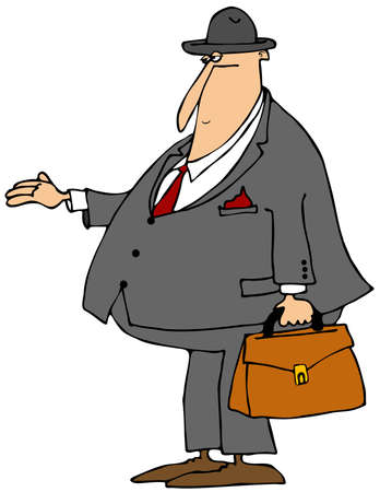 hombre con sombrero: Bill colector con la mano extendida