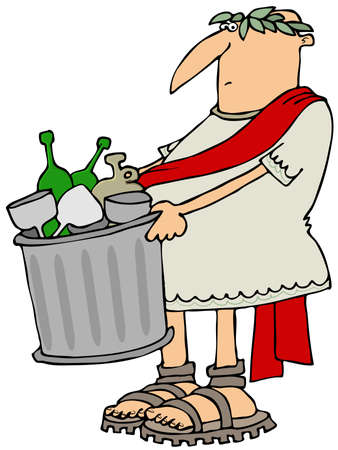 toga: Roman man taking out the garbage