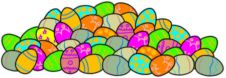 pile: Pile of decorated Easter eggs Stock Photo