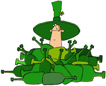 Irish leprechaun in a pile of bottles