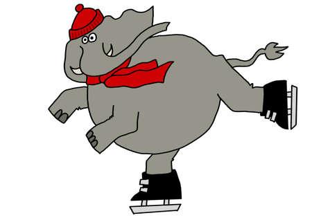 Elephant Eislaufen Standard-Bild - 55678217