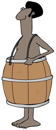 poor man: Poor man wearing a barrel Stock Photo